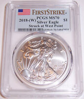 2018-(W) $1 PCGS MS70 First Strike Stuck at West Point Silver American Eagle!!!