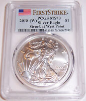 2018-(W) $1 PCGS MS70 First Strike Struck at West Point Silver American Eagle!!!