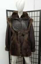 *BRAND NEW BROWN BEAVER FUR & LEATHER COAT JACKET WOMAN WOMEN SIZE 6 SMALL