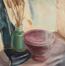 Still Life Bowl Flowers Vintage Oil Painting