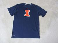 NIKE Illinois Fighting Illini Shirt Adult Small Blue Orange Dri Fit Football Men