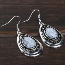 Fashion Jewelry Watrdrop Carved White Turquoise Silver Dangle Earrings