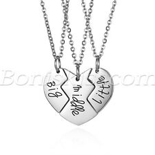 Women's Girls Love Heart Big Middle Little Stainless Steel Pendant Necklace Set