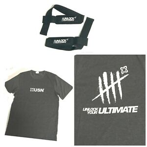 USN T-Shirt Bodybuilding Workout Unlock Your Ultimate top  & Lifting Straps