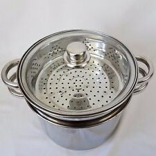 8 Quart Stock Pot Steamer Polished Stainless Steel 4 Piece Pasta/Seafood Cooker