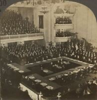 Disarmament Conference in Session, Continental Hall of D.A.R WW1 Stereoview