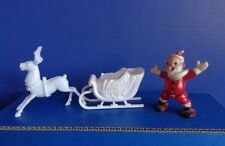 GROUP VINTAGE PLASTIC XMAS CANDY CONTAINERS- SANTA, REINDEER, SLEIGH-MID CENTURY