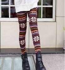 VINTAGE SNOWFLAKE STRIPE WOOL BLEND SLIM PANT LEGGINGS