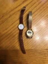 Lot Of Two Vontage Womens Timex Watches (Metal And Leather Band)