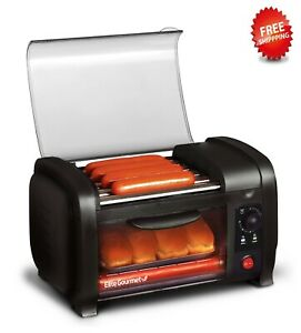 Elite Cuisine EHD-051B Hot Dog Roller and Toaster Oven, black