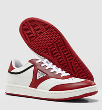 GUESS Mens EU 40 Tyler White & Red Leather Sneakers Trainers Shoes FREE POSTAGE