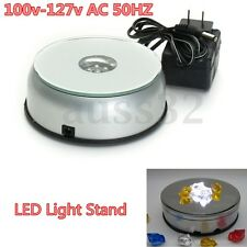 Silver 4'' 7 LED Colorful Light Rotating 3D Crystal Display Base Stand & Adapter