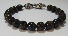 BEENJEWELED BRONZITE BRACELET~.925 STERLING SILVER~8MM~8 1/2 INCHES
