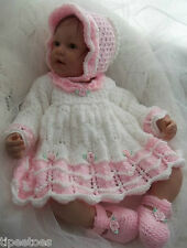 DK Baby Girls Knitting Pattern #45 TO KNIT Dress Bonnet Shoes - Reborn Dolls