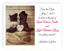 100 Personalized Custom Cowboy Boots Western Bridal Wedding Save The Date Cards