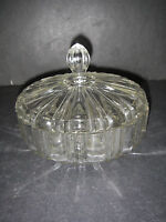 Anchor Hocking Glass OLD CAFE 2092 Clear Candy Dish & Lid Depression