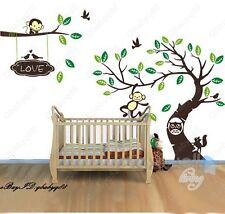 Large Monkey Owl Tree+Branch Vinyl Wall Decal Home Sticker Kids Nursery mural L