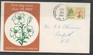 Can 419 - 1964 5c Provincial Flowers & Coats-Of-Arms 'Quebec' - FDC By Caneco