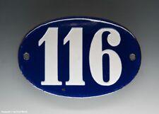 KLEINE...! ALTE EMAIL EMAILLE HAUSNUMMER 116 in BLAU/WEISS um 1950...11 x 7,5 cm