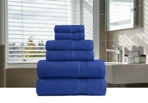 6-Piece Bath-Hand-Face Towels Packs Sets 100% Organic Cotton Multi Color Vibrant