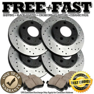 K0480 FRONT+REAR Drilled BLACK Rotors Ceramic Pads FOR 2007 2008 2009 Santa Fe