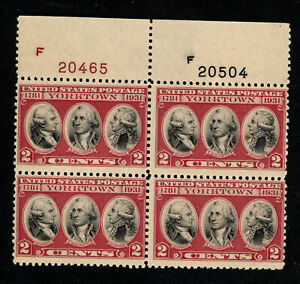 SCOTT 703 1931 2 CENT YORKTOWN ISSUE PLATE BLOCK OF 4 MNH OG F!