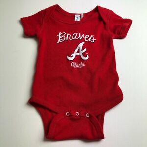 Atlanta Braves MLB Baseball Baby One Piece 12M 12 Months Red White Snaps
