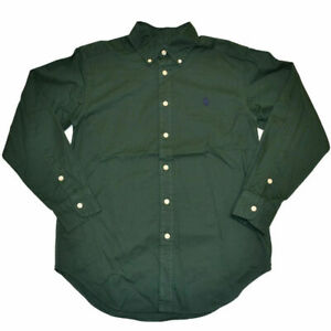 Polo Ralph Lauren Boys Buttondown Woven Shirt 8 Long Sleeve Pony Logo Green New