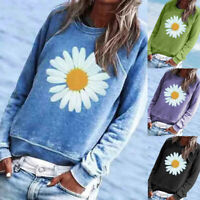 Women Print O-Neck Long Sleeve Tops Loose Pullover Sweatshirt Casual Blouse Ceng