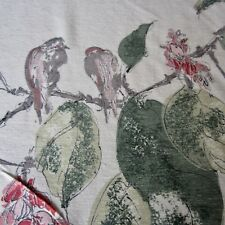 50cm X 122cm Vintage Curtain Fabric 1950s Cream Red Green Oriental Birds MCM