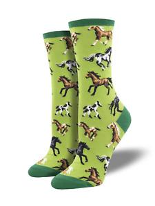 Horse Socks - Green Womens SockSmith Cotton Crew