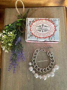 "Plunder Flora Bracelet - Silver chain bracelet with white faux pearls. 8.5""-11"""