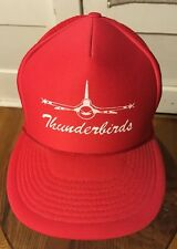 Vintage Thunderbirds Air Force USAF Trucker Hat Cap Red Snapback Air Show