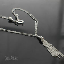 Gorgeous 925 Stamped Silver Multi Strand Tassel Pendant Bead Necklace NEW UK 163