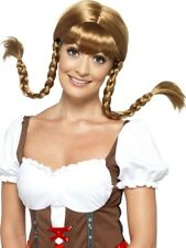 Brown Bavarian Babe Wig, Plaited Womens Smiffys Oktoberfest Fancy Dress Costume
