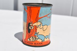 ANTIQUE THE CONNECTICUT SAVING BANK ADVERTISING TIN COIN BANK WONDERFUL GRAPHIC