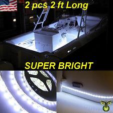 "2x 2' (24"") White LED Boat Deck Light Waterproof Bow Trailer Fishing Pontoon 12v"