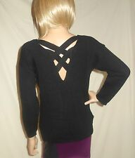 Tavi Long Sleeve V- Neck sexy back Sweater black MEDIUM new
