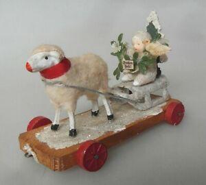 Schneekind mit Schaf Schlitten alte Weihnachts  Tischdekoration 1930 Antik