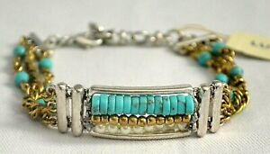 Lucky Brand Two-Tone Turquoise Bead Triple Row Bracelet NWT