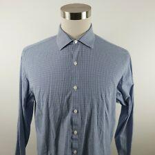 Kenneth Cole Reaction Mens Slim Fit LS Button Up Blue Plaid Dress Shirt 16 34/35