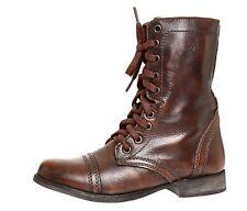 Steve Madden Troopa Leather Boot Brown Women Sz 6.5 M 4023 *