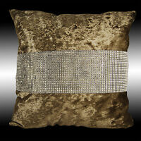 SHINY BLING SILVER BRONZE THICK SOFT VELVET THROW PILLOW CASE CUSHION COVER 17""