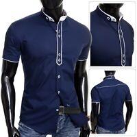 Men's Navy Blue Short Sleeve Shirt Elegant Grandad Collar Cotton White Cuffs Tie