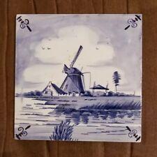 "Vintage Dutch Delft blue hand painted trivet windmill themed 6.25"" X 6.25"""