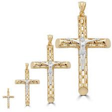 Solida Plata 925 Bañada en 14K Crucifijo Jesus Colgante 4 Tamaños Unisex ITALY