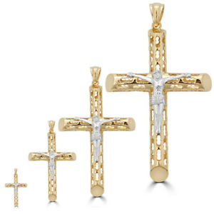 14k Gold Over Real Solid 925 Silver Cross Jesus Piece 4 Sizes Mens Ladies ITALY