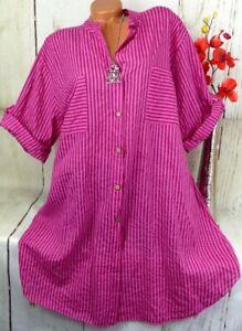 Bluse Shirt Retro Hemd Kleid Tunika Fischerhemd Oversize Gestreift Pink 46 48