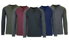 Men's Long Sleeve Crew Neck Henley T-Shirt Tee Raglan & Solid S M L XL XXL 3XL