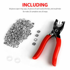 100pcs Popper Fasteners Sewing Prong Pliers Ring Press Studs Snap DIY Tool Kit